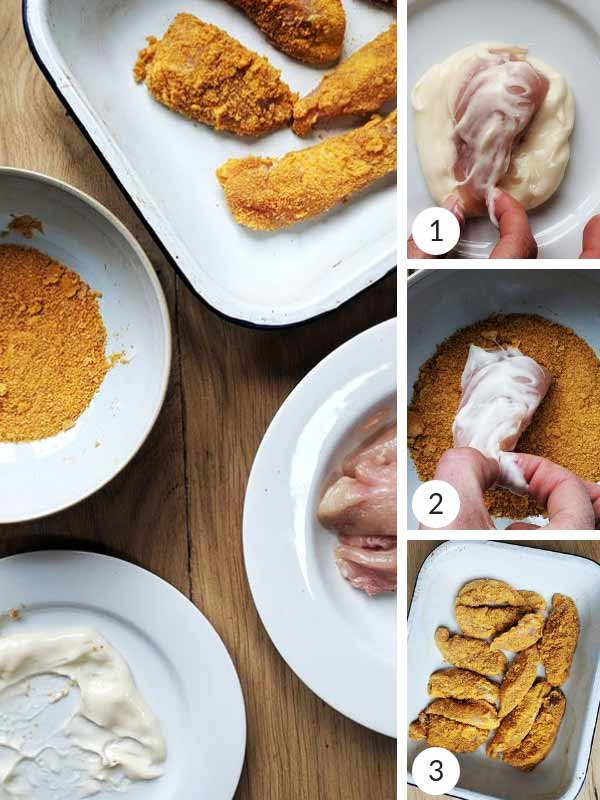 Process photographs of how to make chicken tenders