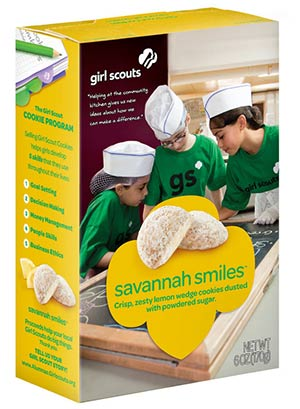 A box of Girl Scout Savannah smile cookies
