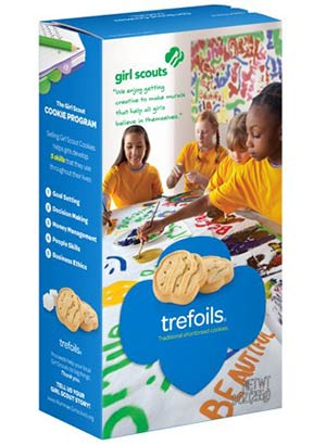 A box of Girl Scout Trefollis cookies