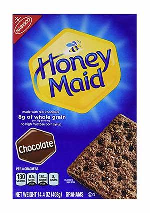 A box of Honey Maid Chocolate Grahams
