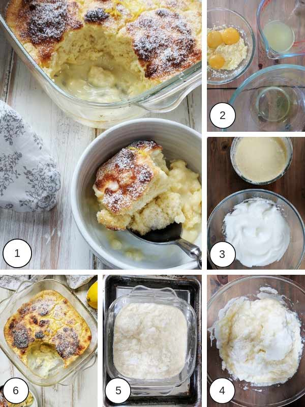 Process photographs of making lemon pudding