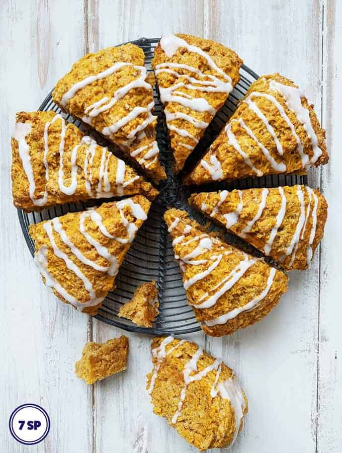 Some Pumpkin Spiced Scones on a white table