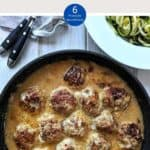 Swedish Meatballs in a skillet with a dish of courgette zoodles