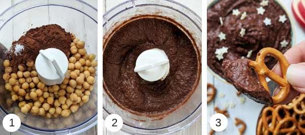 Process shots of making chocolate hummus