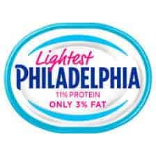 A tub of lightest Philadelphia cream cheese