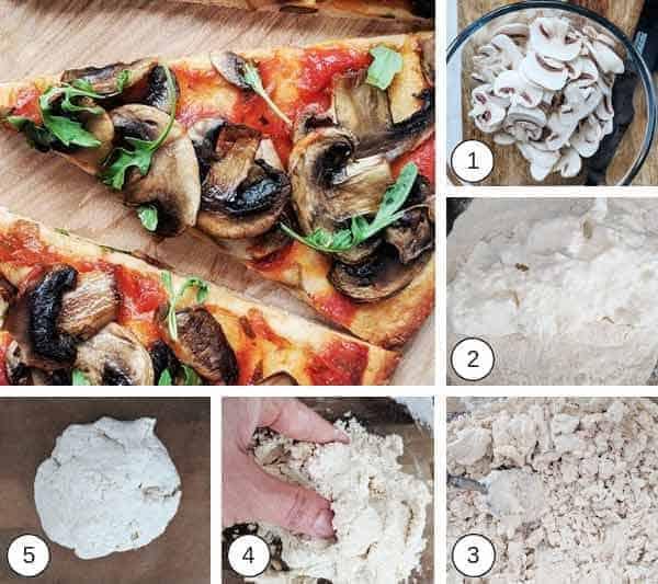 Process photographs on making mushroom pizza