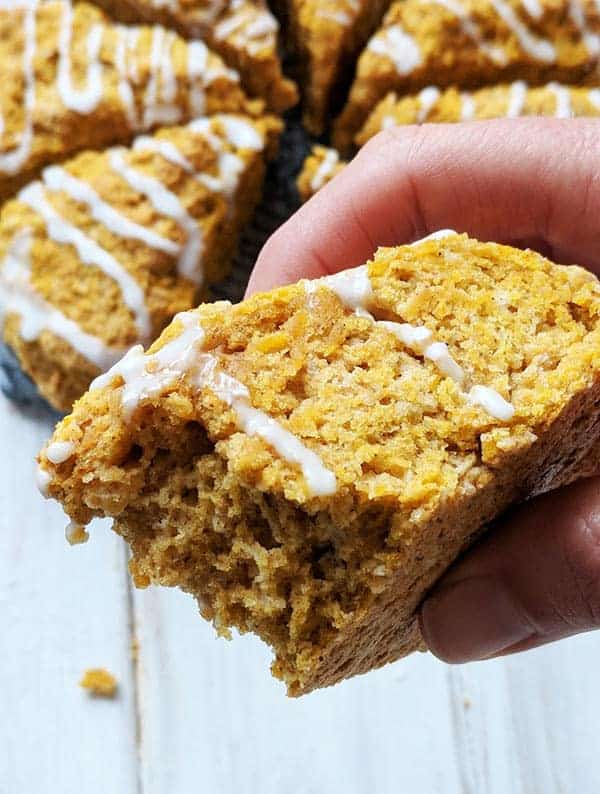 A close up picture of pumpkin spiced scones