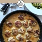 A skillet of Swedish meatballs
