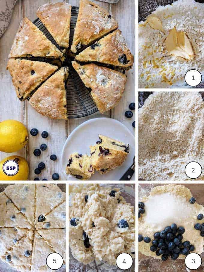 process shots of making Blueberry & Lemon Scones