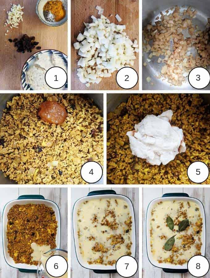 Process shots of making bobotie