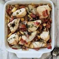 A dish of Chicken & Bean Casserole
