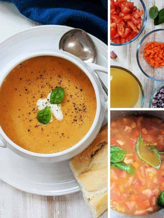 Process shots of making creamy tomato soup