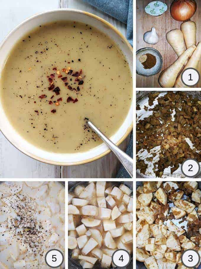 Process photos of making spicy parsnip soup