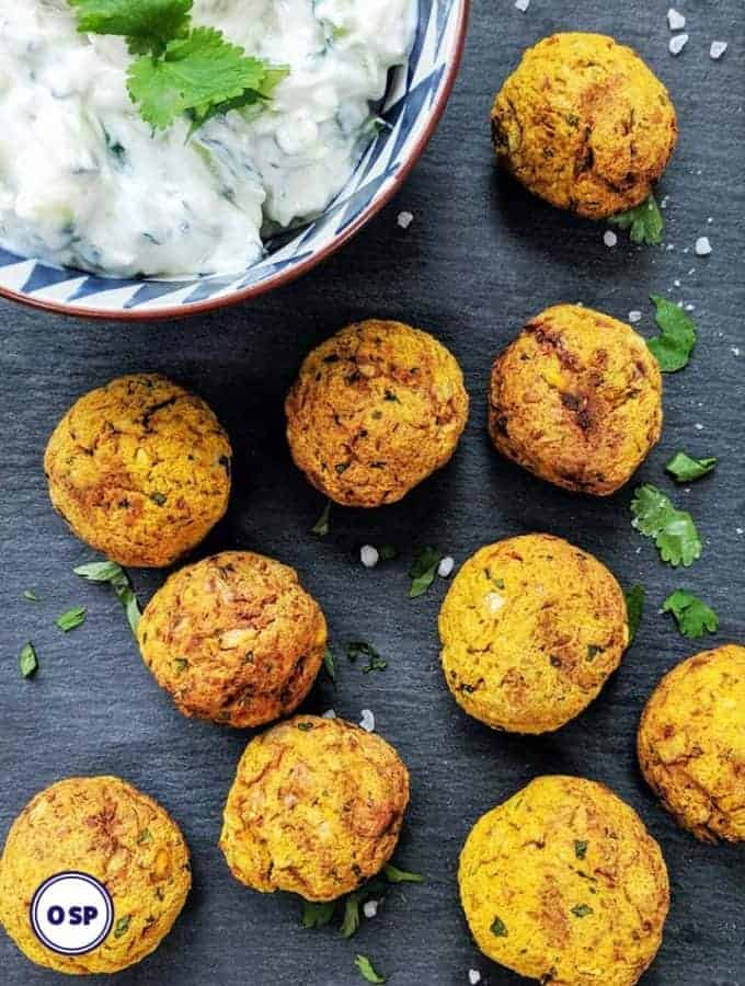 Butternut squash falafel on a grey background