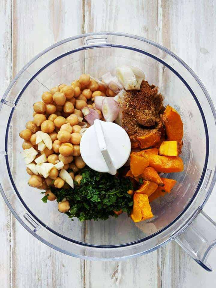 Ingredients for butternut squash falafel
