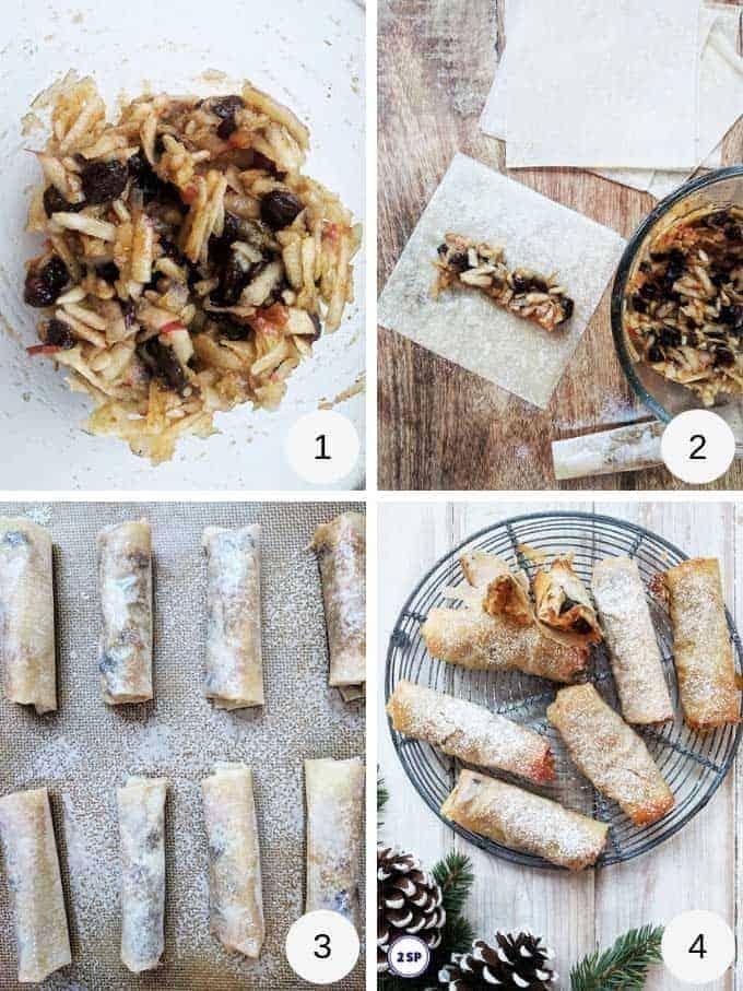 Process shots of making filo mince pies