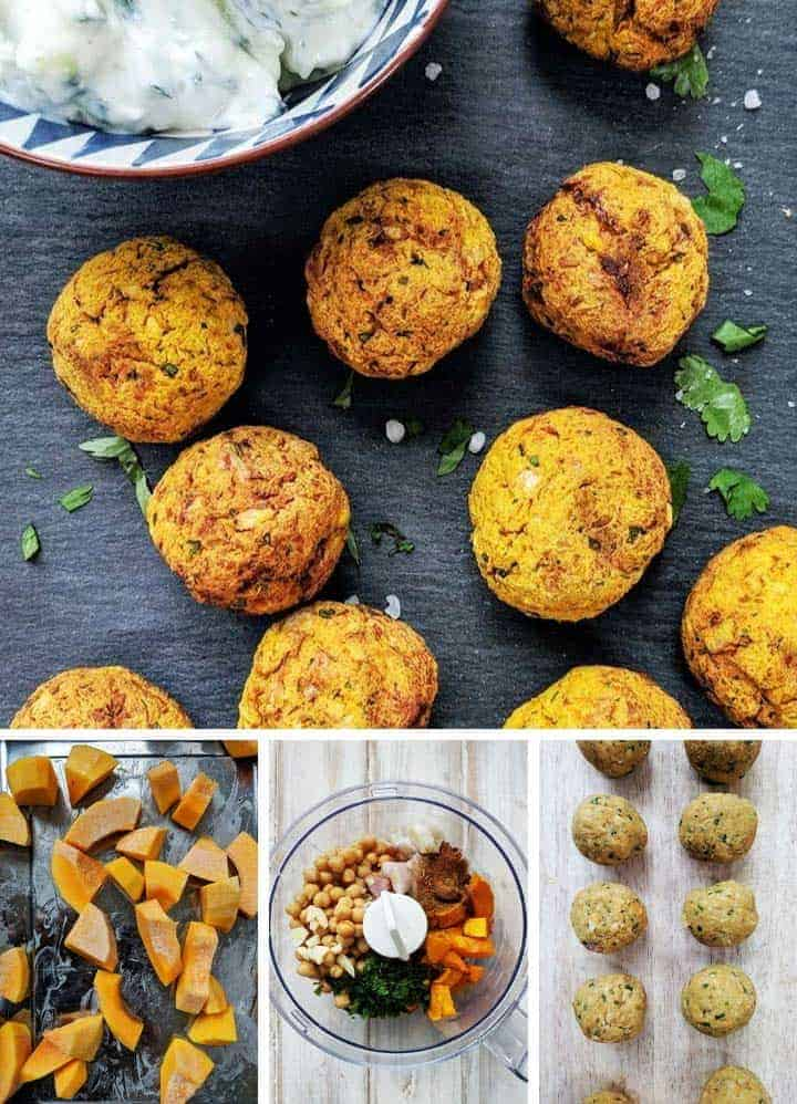Process shots of making butternut squash falafel