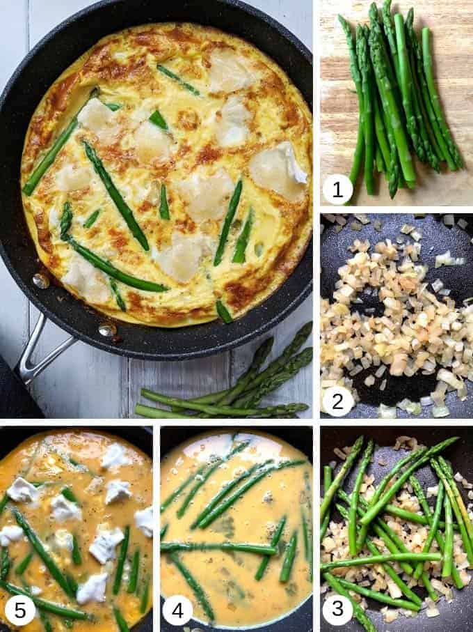 Pictures of making asparagus and brie frittata