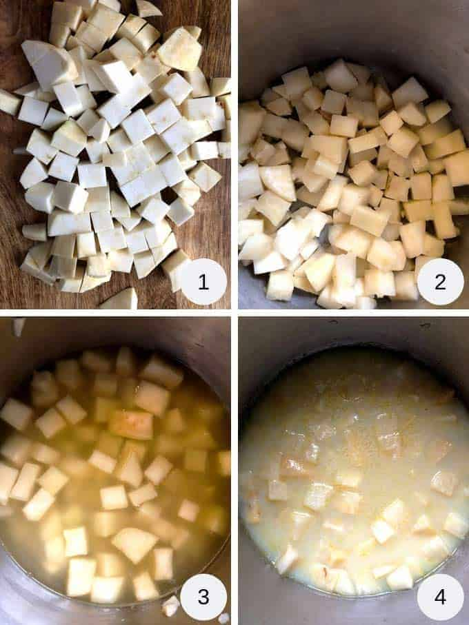 A collage of photos showing celeriac soup being prepared.