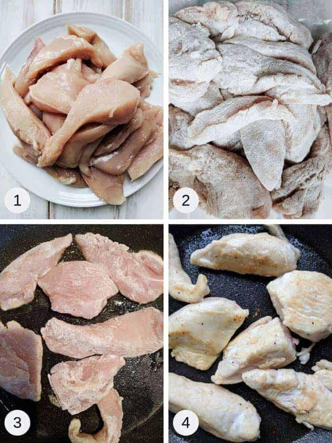 Photos of preparing creamy chicken casserole