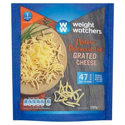 A bag of WW mature cheddar cheese