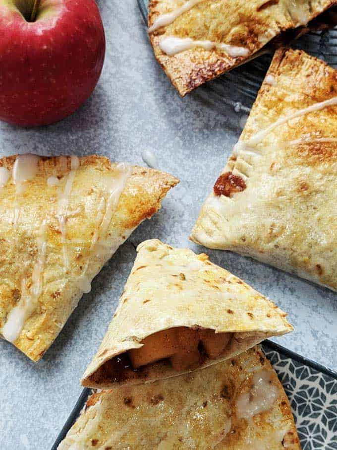 4 Apple turnovers on a table