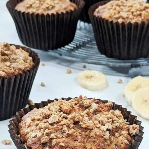 A close up of the streusel topping on a banana muffin