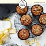 Banana muffins on a white table