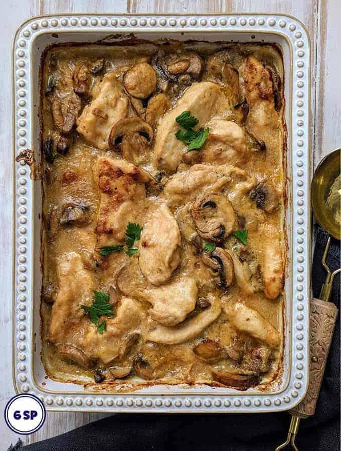 A dish of creamy chicken casserole weight watchers