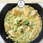 A skillet of Creamy Pesto Chicken with Broad Beans