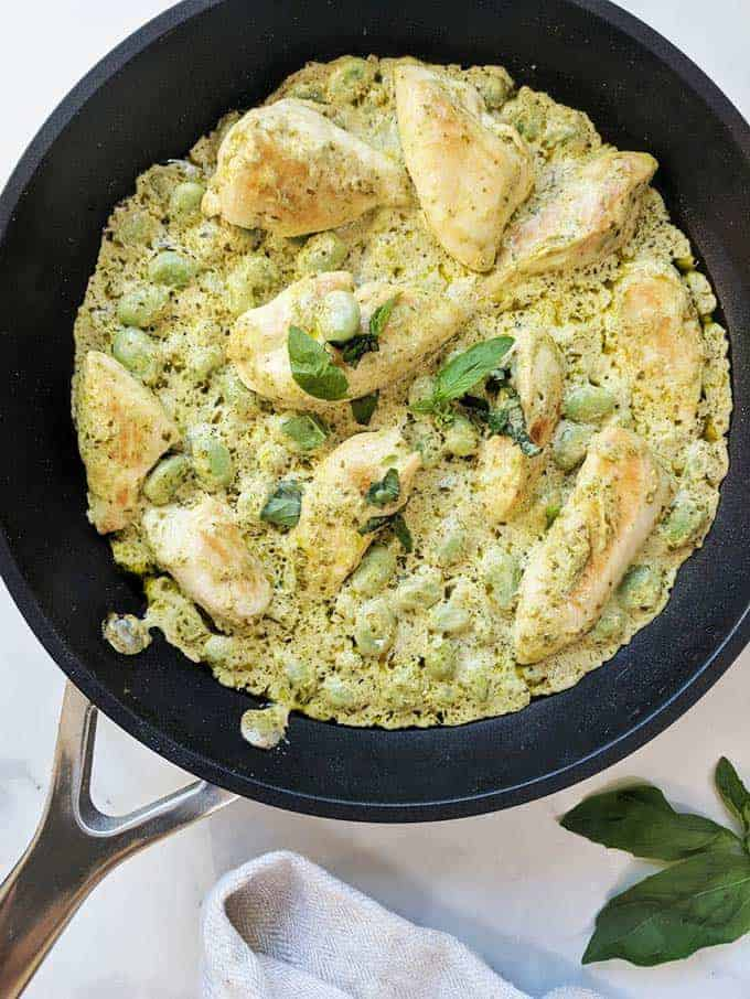 A skillet of Weight Watchers Creamy Pesto Chicken