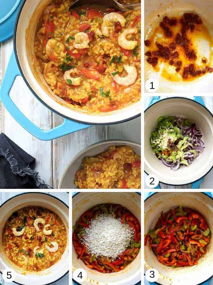 Pictures of making shrimp, chorizo and red pepper paella