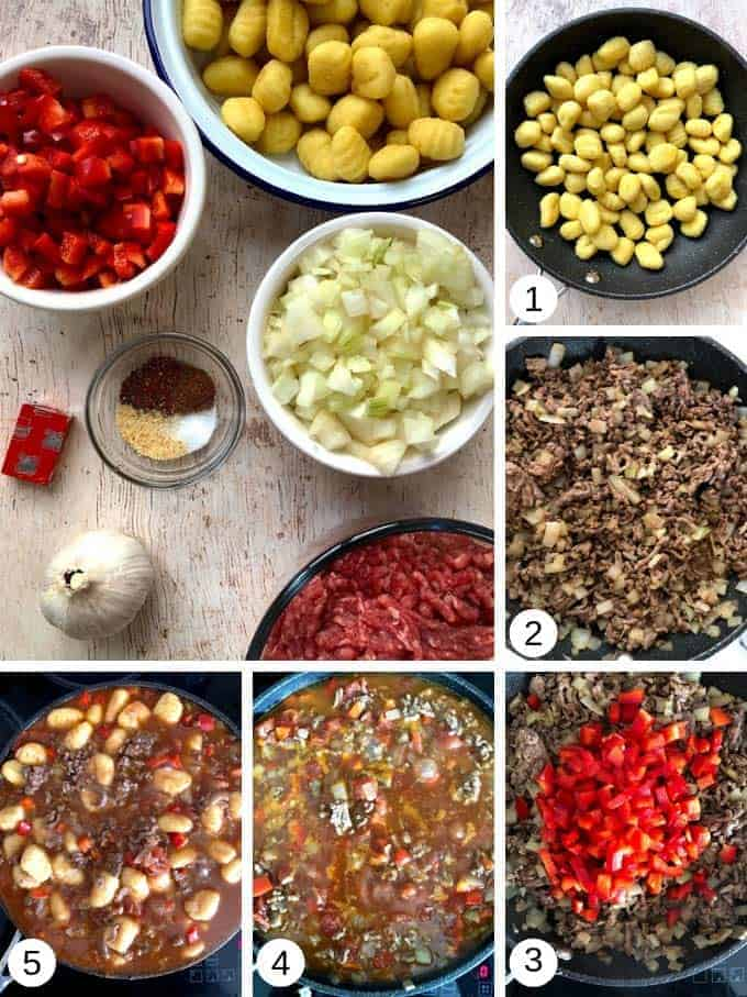 Ingredients to make spicy ragu gnocchi