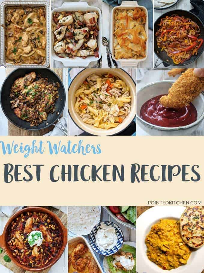 A photo collage of 10 Best Chicken Recipes for Weight Watchers