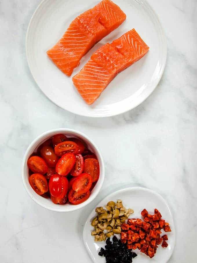 Ingredients to make chorizo salmon