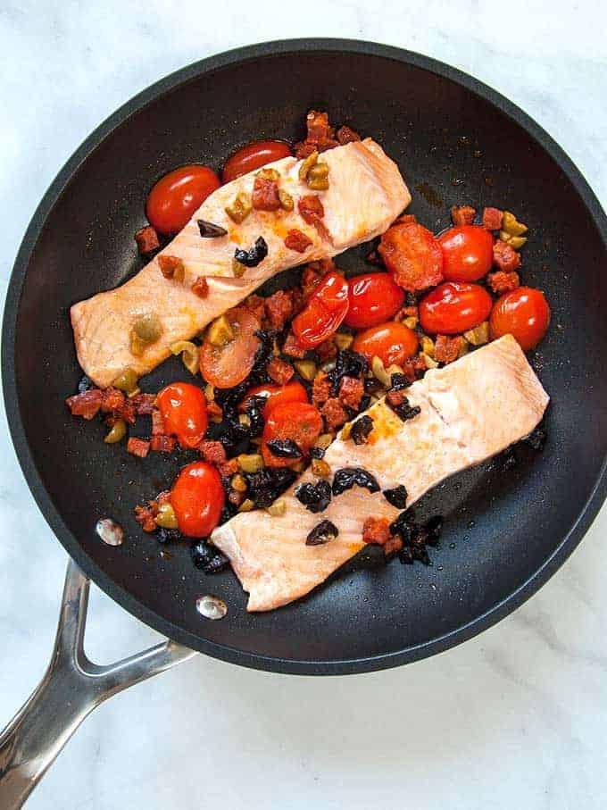 A pan of chorizo salmon