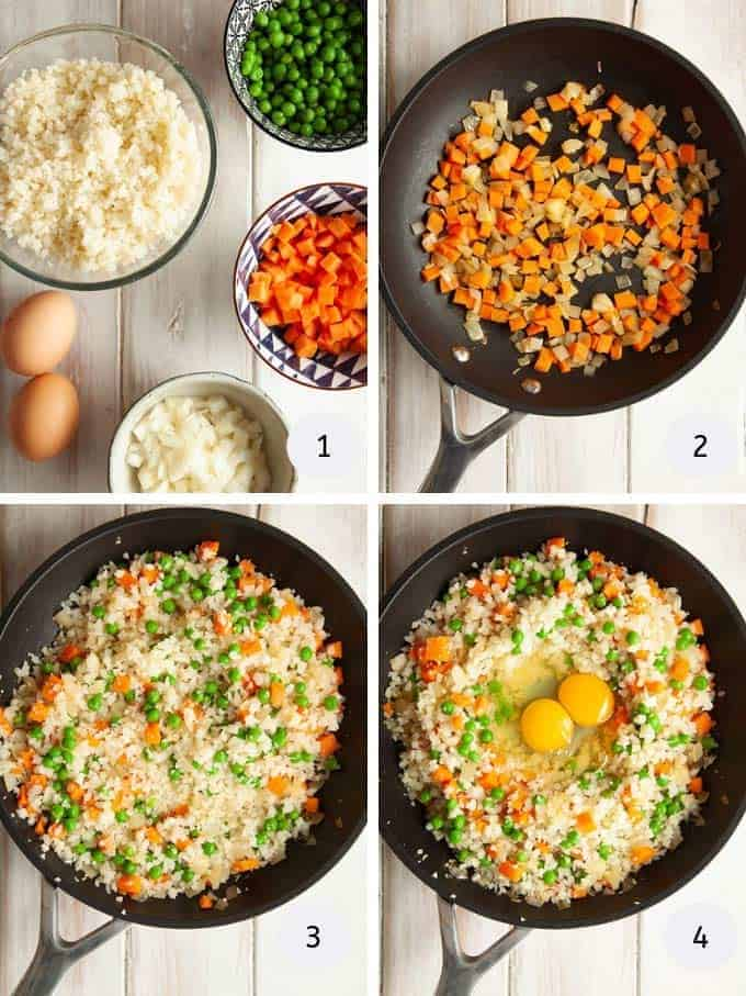 Picture of making egg fried cauliflower rice