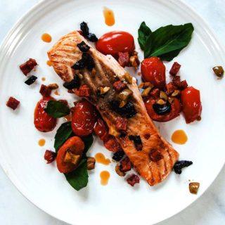 Chorizo Salmon on a white plate