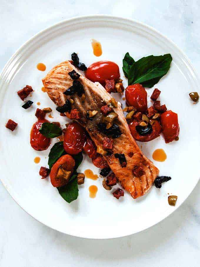 Chorizo Salmon on a white plate