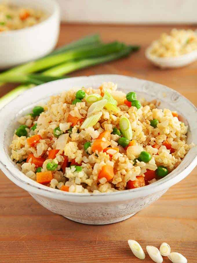 A bowl of egg fried cauliflower rice