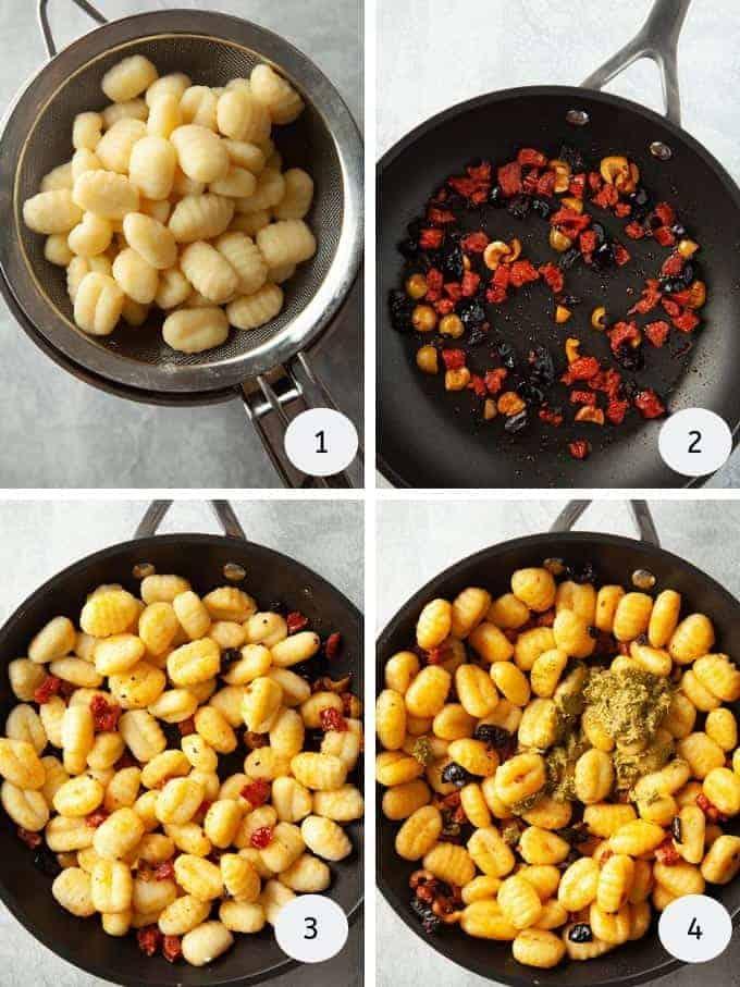 Pictures of making gnocchi pesto