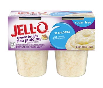 A pack of Jell-o Creme Brulee rice puddings