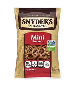 A bag of Snyder mini pretzels