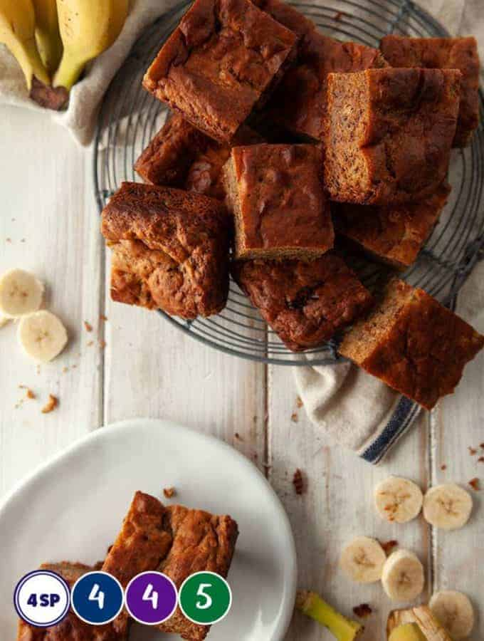 Squares of banana bread on a white table