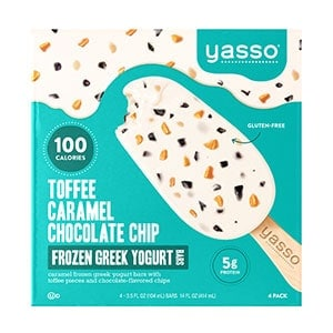 A box of Yasso toffee caramel chocolate chip frozen greek yogurt bars