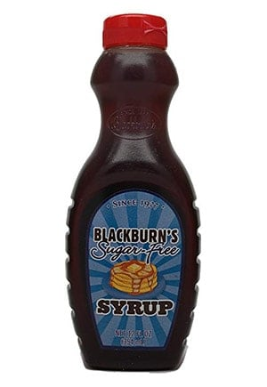 A bottle of Blackburns sugar free pancake syrup