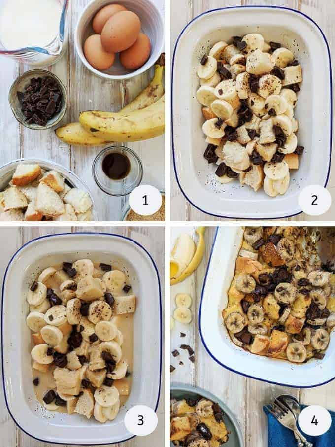 Pictures of making bread pudding with banana