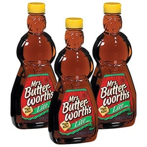 Three bottles of Mrs Butterworths lite syrup