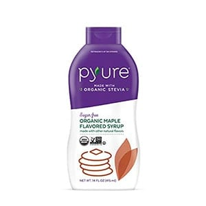 A bottle of Pyure Organic Maple flavoured syrup