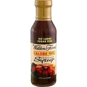 A bottle of Walden Farms Calorie Free Pancake Syrup - zero Smart Points Weight Watchers